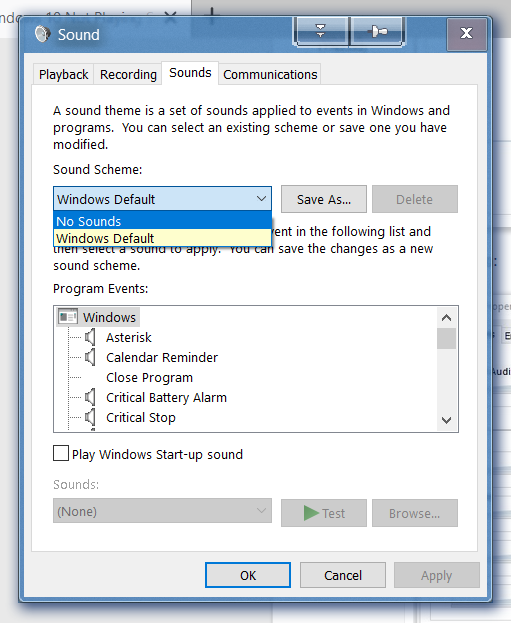Windows 10 Not Playing System Sounds  All Other Sounds Are Okay