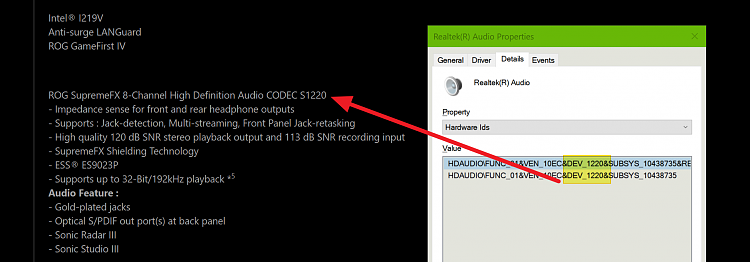 Determine the HDA Realtek driver needed for your Audio