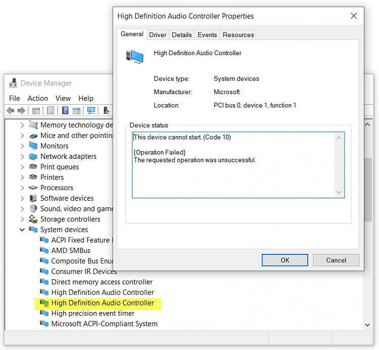 High Definition Controller Driver Error (Code10) - Windows