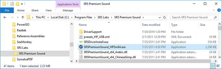 Removing SRS Audio Control Panel / SRS Premium Sound - Page