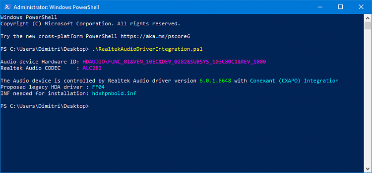 Determine the HDA Realtek driver needed for your Audio-script_output.png