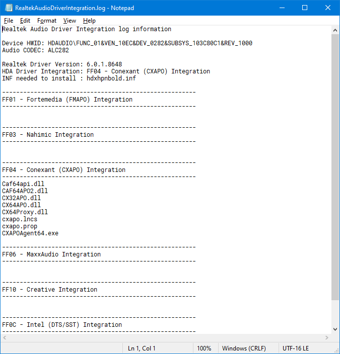 Determine the HDA Realtek driver needed for your Audio-script_log.png