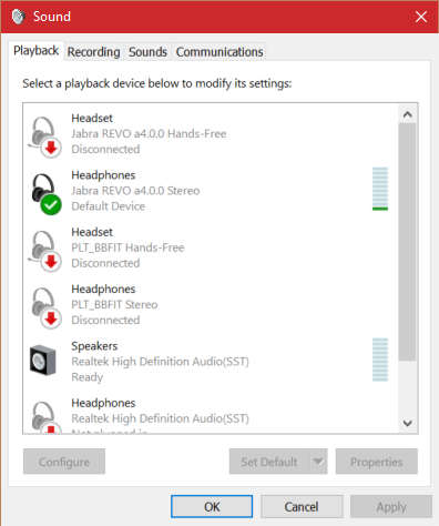 Bluetooth headphones connect but headset portion does not - Windows