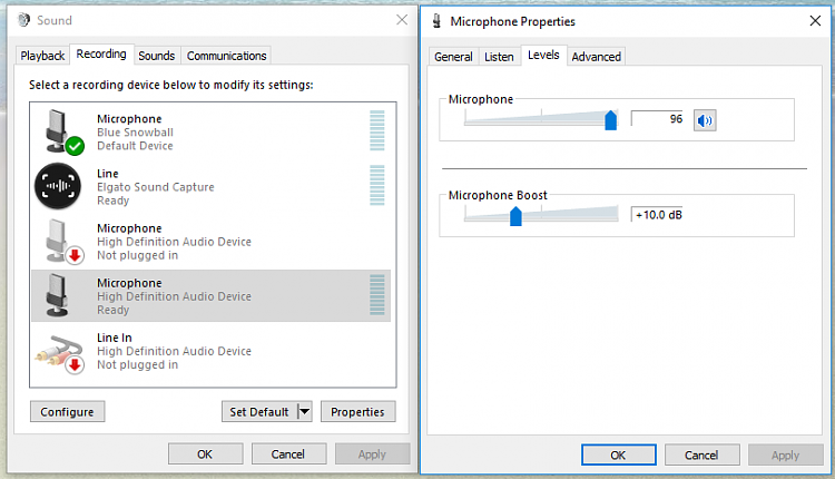 Microphone boost option not showing in Windows 10 sound options