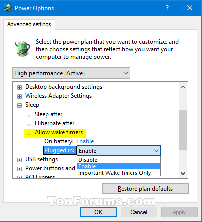Enable / Disable Wake Timers feature in Windows 10