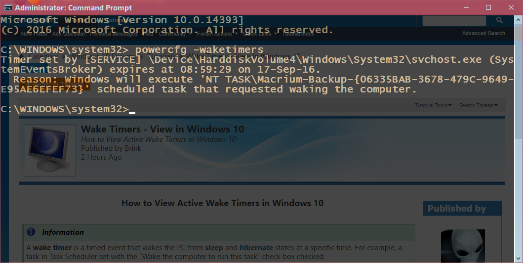 View Wake Timers in Windows 10 | Tutorials
