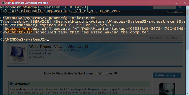 Wake Timers - View in Windows 10 - Windows 10 Forums