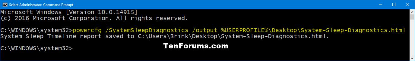 Generate System Sleep Diagnostics Report in Windows 10