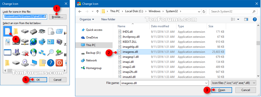 how to change a icon on windows 10