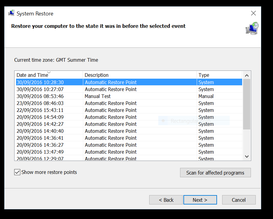 how to delete system restore points in windows 10