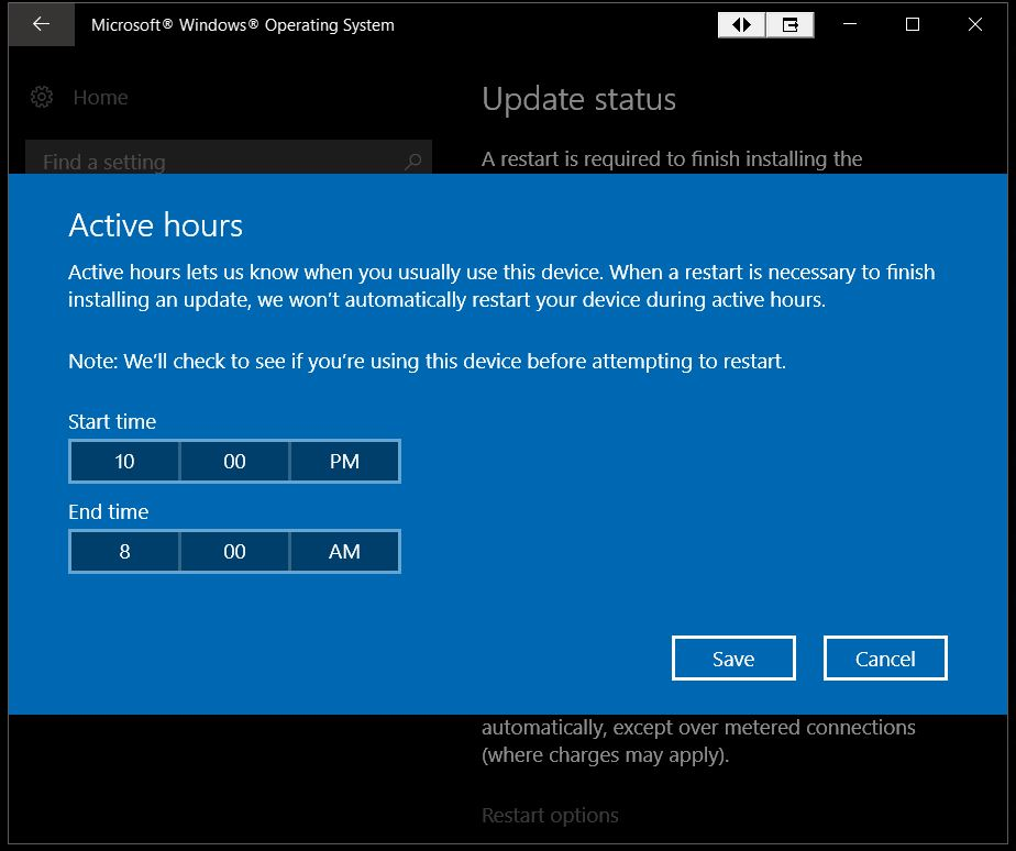 Change Active Hours for Windows Update in Windows 10 ...