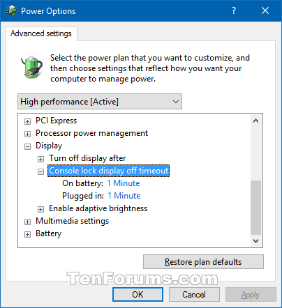 Power Options Add Console Lock Display Off Timeout In