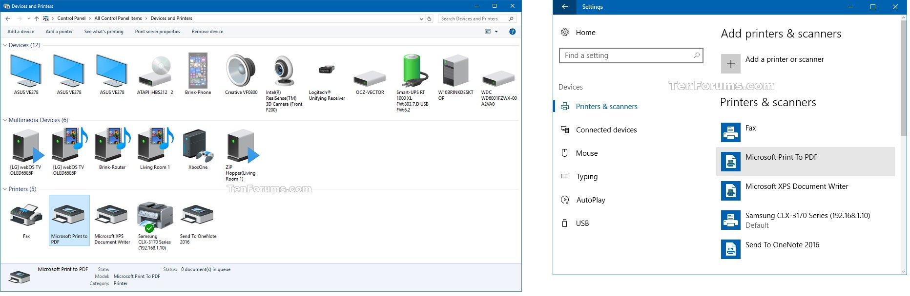 Add or Remove Microsoft Print to PDF Printer in Windows 10 ...