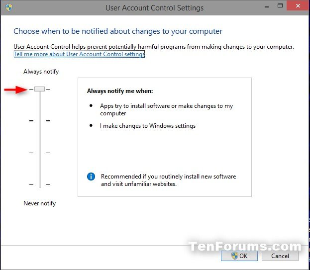 Change User Account Control (UAC) Settings in Windows 10