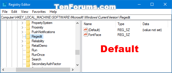 Change Font for Registry Editor in Windows 10 | Tutorials
