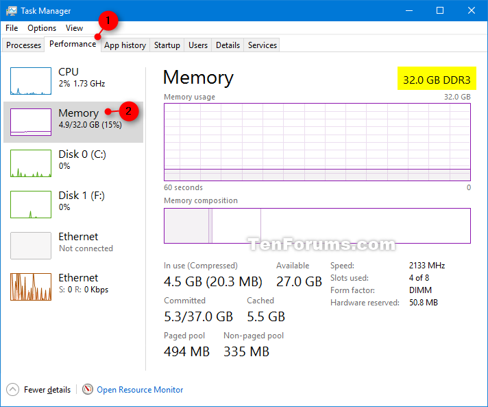 Windows 10 Task Manager Type Ddr4