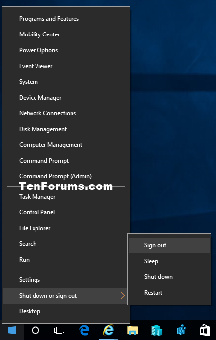 how to logout as administrator windows 10