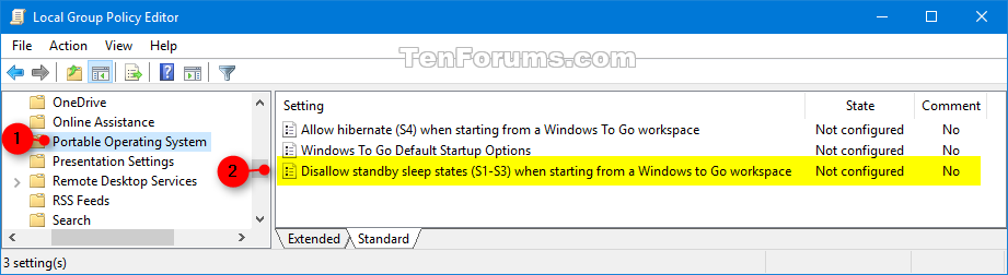 Enable or Disable Windows To Go using Sleep on Windows 10 PC