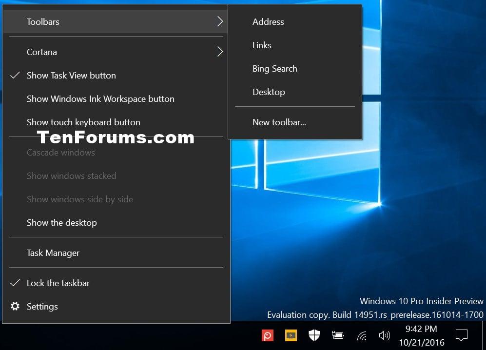 Add Toolbars to Taskbar in Windows 10 | Tutorials