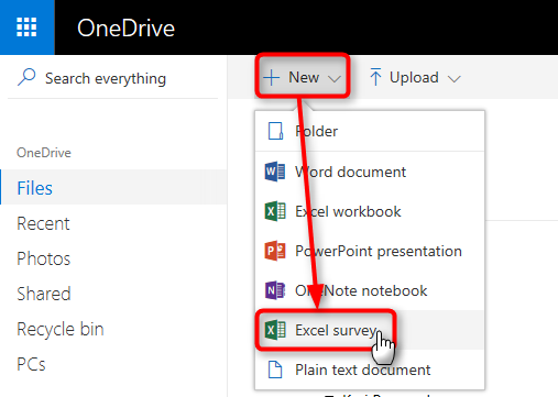 OneDrive - Create an online Excel survey with free Office Online