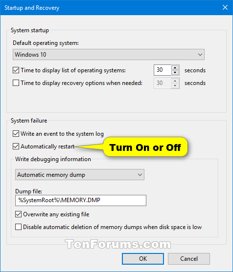 Enable or Disable BSOD Automatic Restart in Windows 10