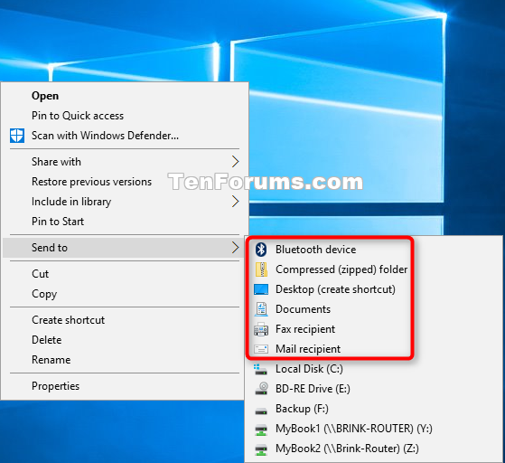 Send to Context Menu - Restore Default Items in Windows 10 | Tutorials