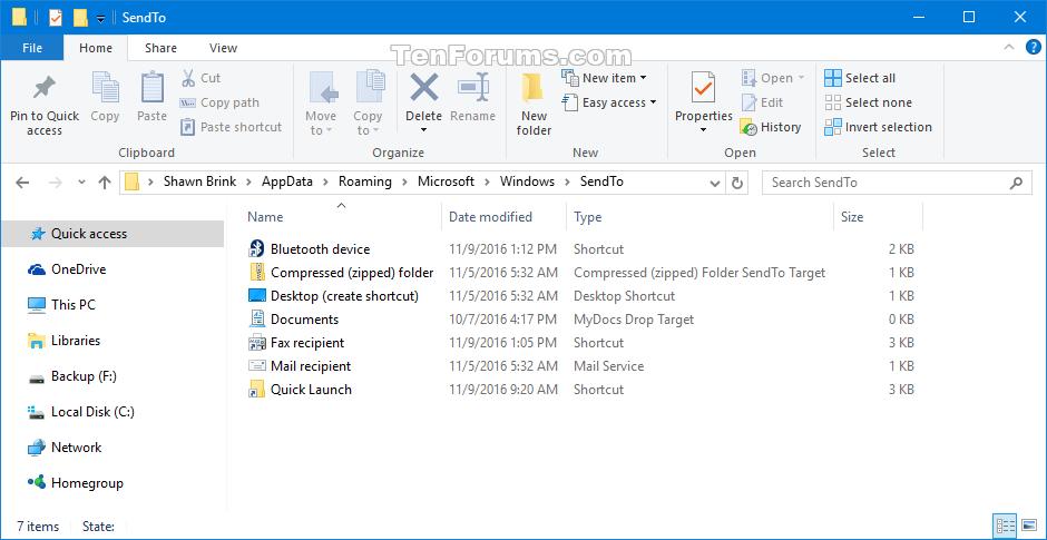 Send to Context Menu - Restore Default Items in Windows 10