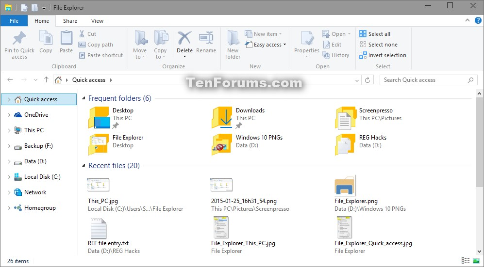 Open to This PC or Quick access in File Explorer in Windows