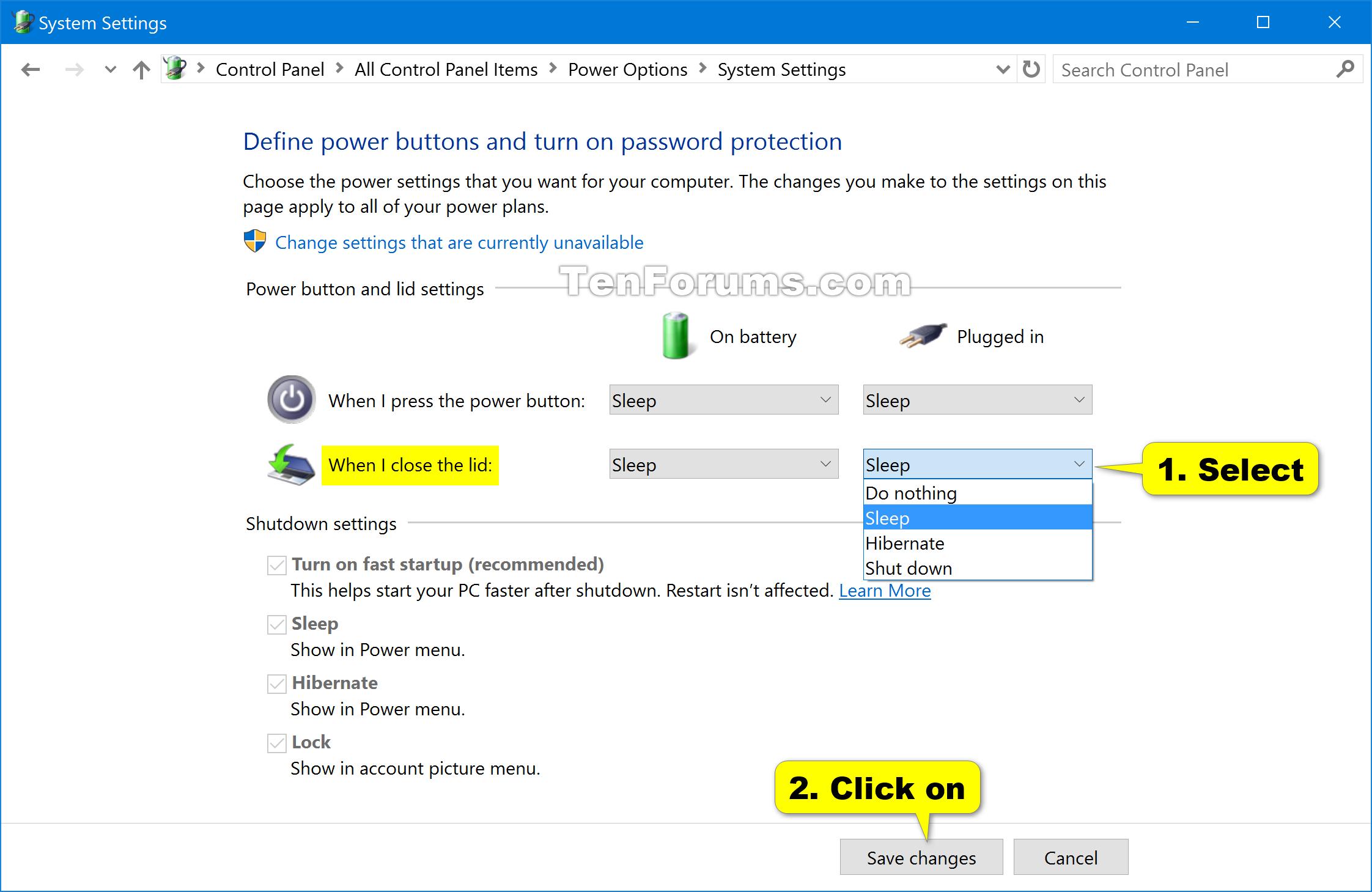 Change Lid Close Default Action In Windows 10 Tutorials