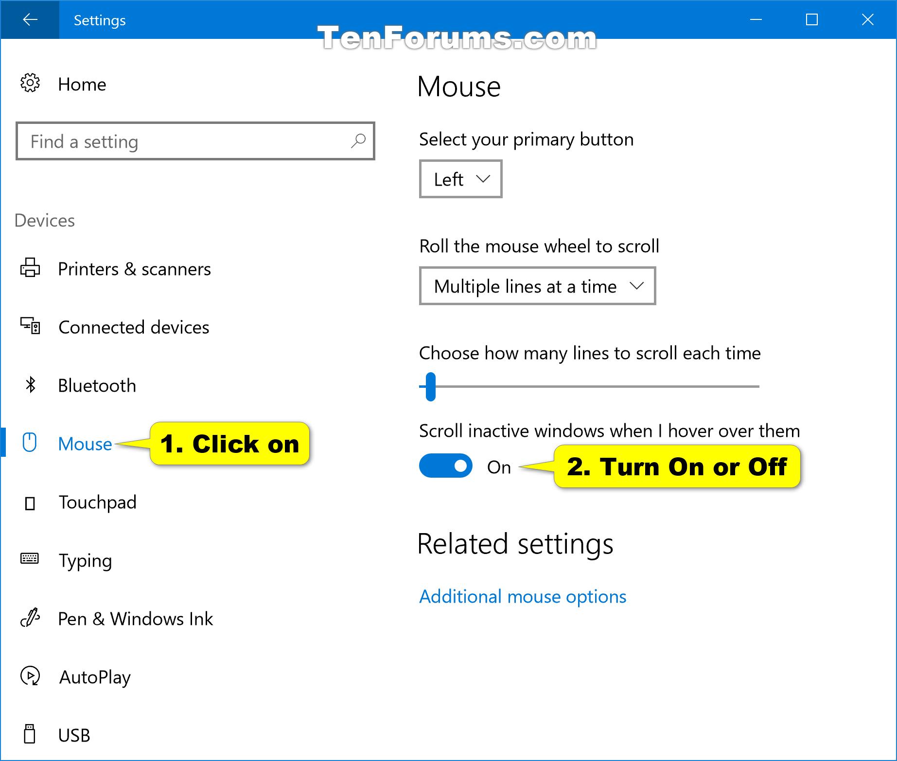 Turn On or Off Scroll Inactive Windows in Windows 10 | Tutorials