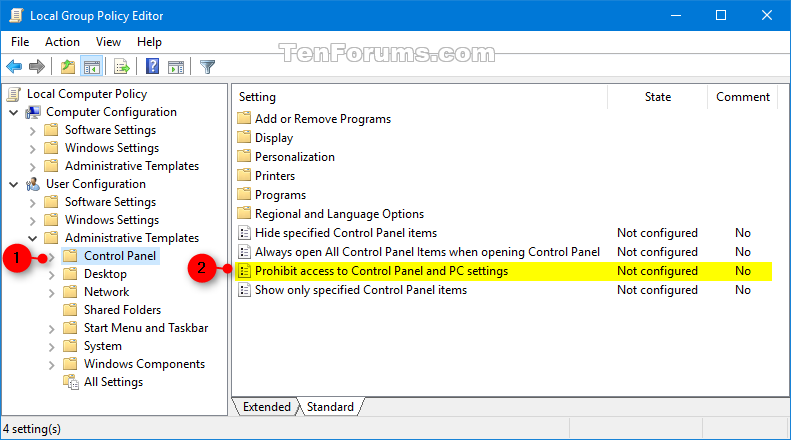 Enable or Disable Control Panel and Settings in Windows 10 | Windows ...