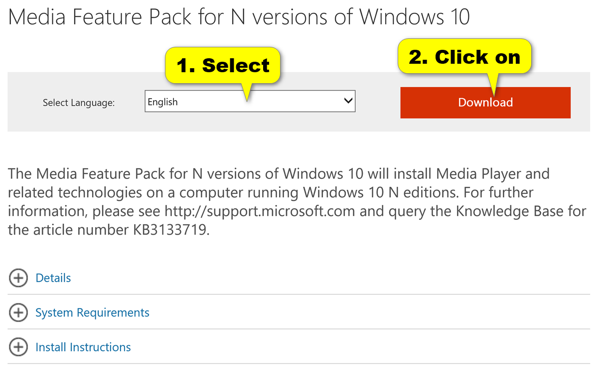 download microsoft codecs installation package