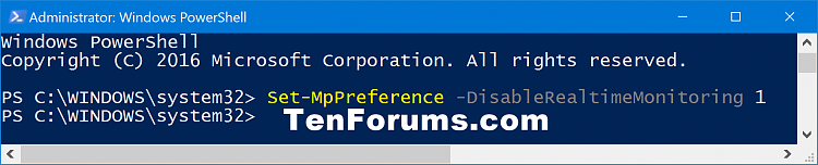 Click image for larger version.  Name:Turn_off_Windows_Defender_Real-time_Protection_PowerShell.png Views:1032 Size:37.1 KB ID:110735