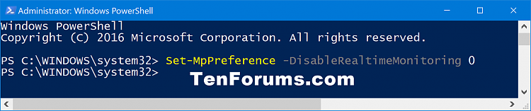 Click image for larger version.  Name:Turn_on_Windows_Defender_Real-time_Protection_PowerShell.png Views:1659 Size:37.8 KB ID:110736
