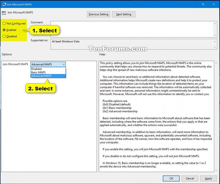 Enable Windows Defender Block at First Sight in Windows 10-join_microsoft_maps_gpedit-2.jpg