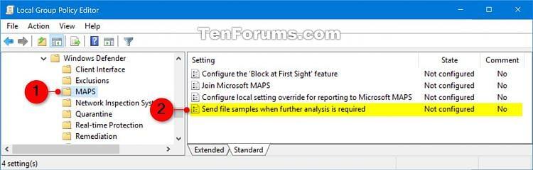 Enable Windows Defender Block at First Sight in Windows 10-send_file_samples_gpedit-1.jpg