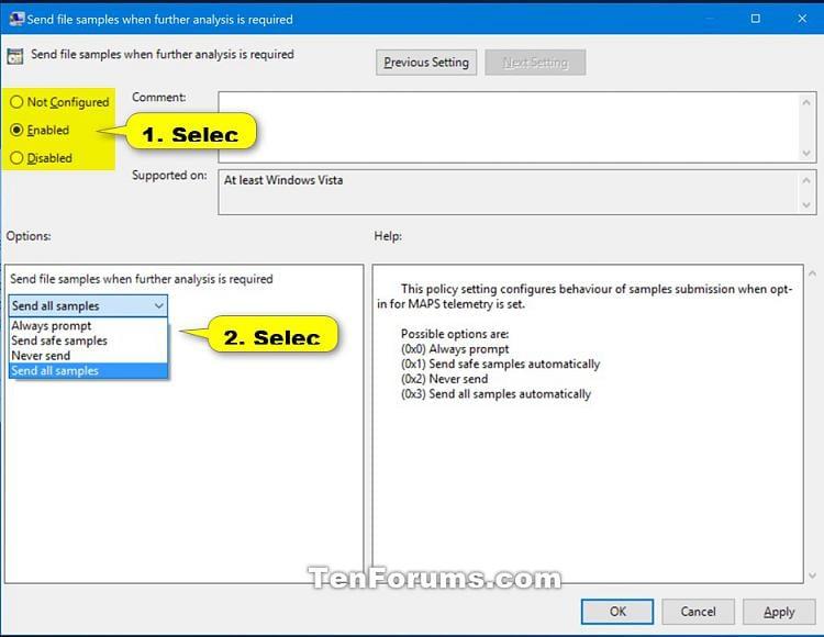Enable Windows Defender Block at First Sight in Windows 10-send_file_samples_gpedit-2.jpg