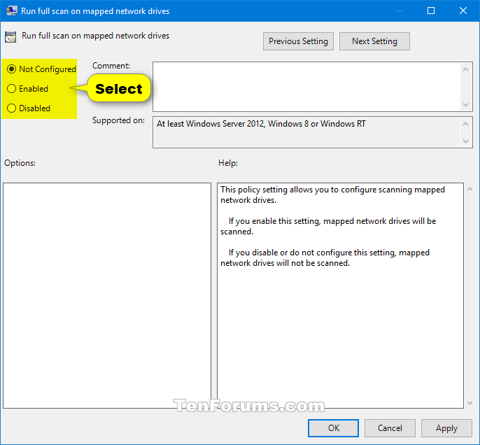 Enable Windows Defender Scan Mapped Network Drives in