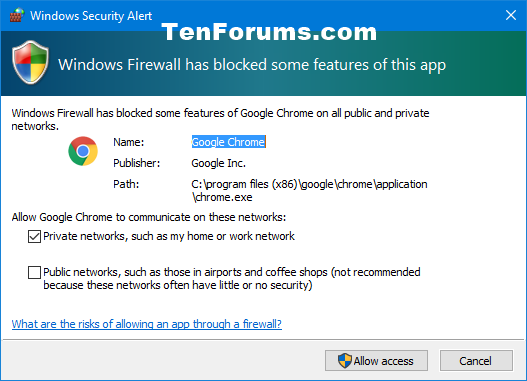 Add or Remove Allowed Apps through Windows Firewall in Windows 10