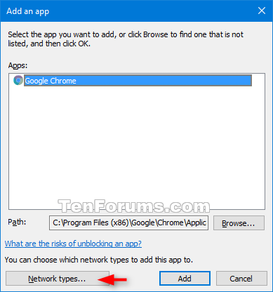 Add or Remove Allowed Apps through Windows Firewall in