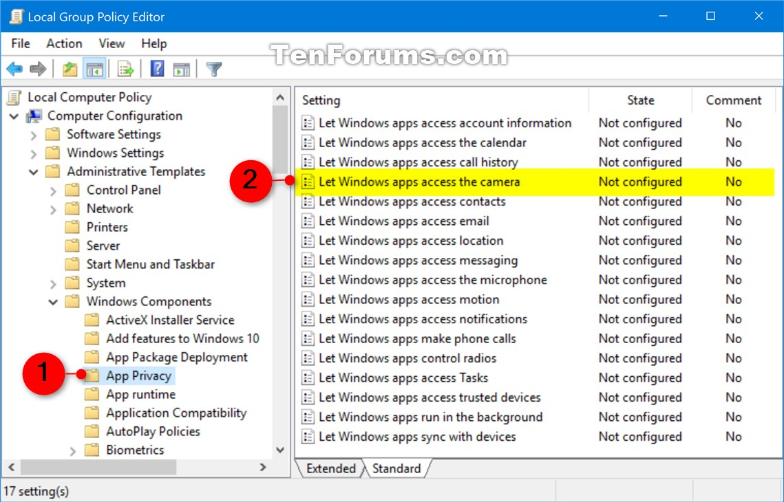 Allow or Deny OS and Apps Access to Camera in Windows 10