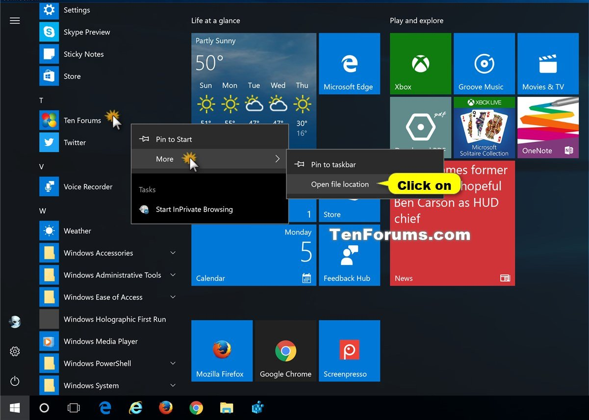 Add site to apps in start menu from internet explorer in for Windows 10 site