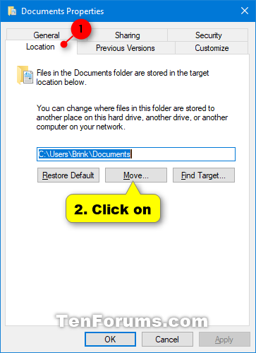 how to change documents folder location windows 10