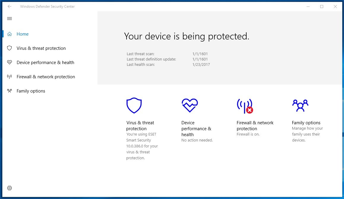 Windows Defender Security Center In Windows 10 Windows