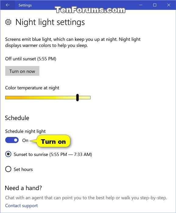 Turn On or Off Night Light in Windows 10   Tutorials
