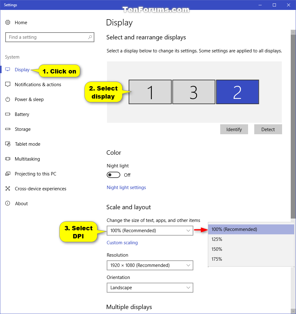 Change DPI Scaling Level for Displays in Windows 10 | Tutorials