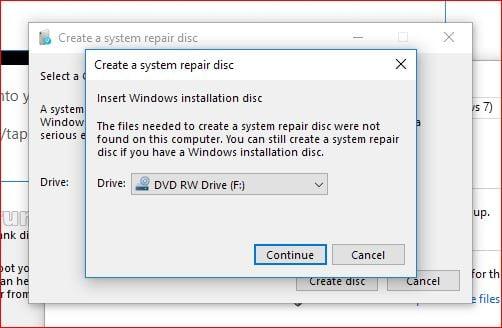 create a repair disc windows 10