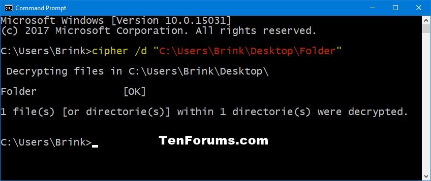 Decrypt Files and Folders with EFS in Windows 10 | Tutorials