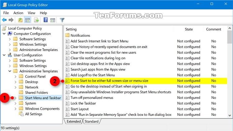windows 10 policy start menu