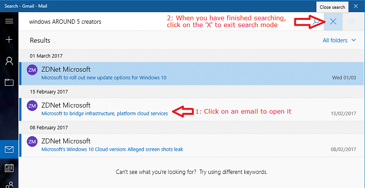 Mail app Advanced Searching in Windows 10-gmail_5_resultsandexit.png